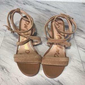 Sam Edelman tan sandal heels.